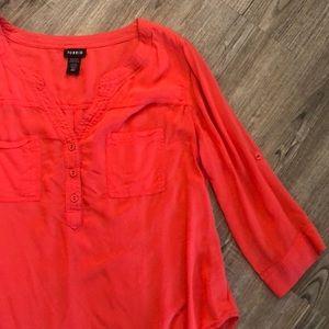 Torrid Coral/Pink Pocket Blouse - Size 00